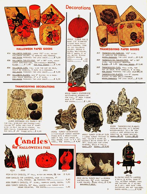 1963 Wholesale Catalog Ad featuring Halloween and Thanksgiving