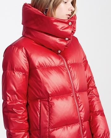 c2400b86b High-Collar Thick Puffer Down Coat, Red | puffy | Down coat, Puffy ...