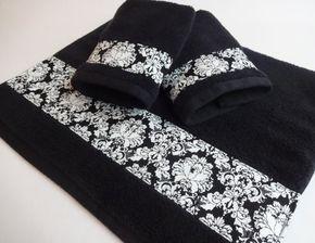 Black Damask Bath Towels Black Damask Black Towels Hand Towels