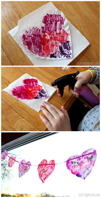 Easy Coffee Filter Heart Garland - Fun valentines day craft for kids to make!   CraftyMorning.com