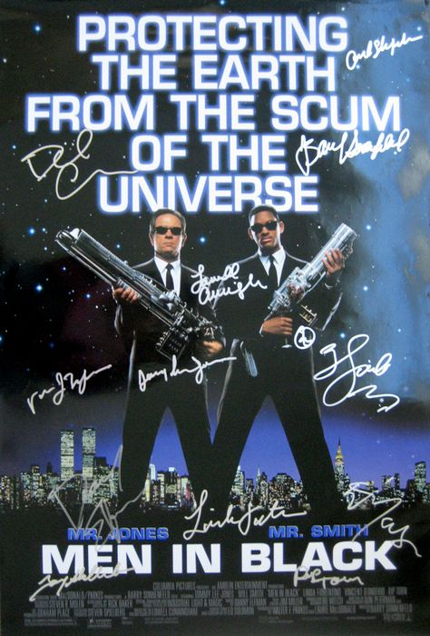 Men in Black (1997) original poster cast signed by Tommy Lee Jones