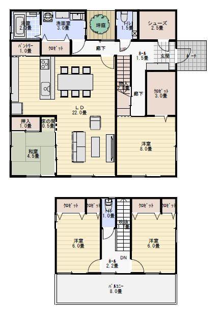39坪4ldk坪庭のある家の間取り 間取り 20坪 間取り 家の間取り