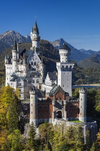 Germany Bavaria Hohenschwangau Schloss Neuschwanstein Castle Elevated View Fall Photographic Pr In 2020 Neuschwanstein Castle Germany Castles Beautiful Castles