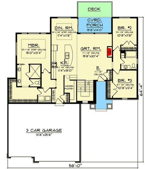 Plan 890103ah Split Bedroom New American Ranch Home Plan Ranch House Plans Dream House Plans Ranch House
