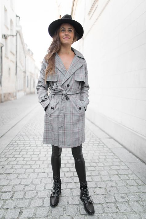 Trench PIED DE POULE lignes rouges  Trench  Mode  Prettywire  Dress eb1baa269ad