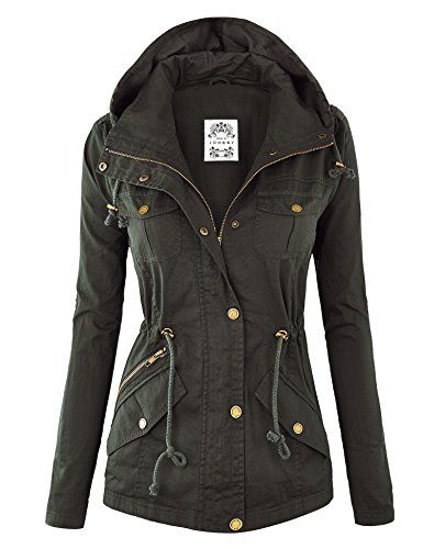 Womens Fully Quilted Lined Anorak Hoodie Jacket with Pockets ...