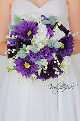 Purple Gerbera Daisy Wedding Flower Brides Bouquet With Orchids