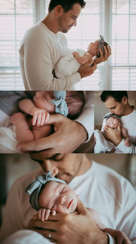 Newborn Family Pictures, Newborn Baby Photos, Newborn Poses, Baby Girl Newborn, Baby Girl And Dad, Baby Poses, Newborn Shoot, Newborns, Baby Pictures
