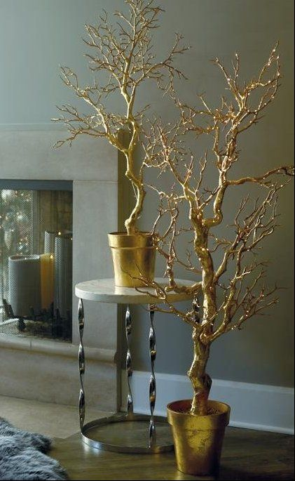 Wow guests at your next holiday soiree with our Gold Potted Trees. As if touched by Midas, these glamorous trees are completely covered in hand-applied gold leaf. Choose from the beautiful cascading Umbrella style or traditional Manzanita –– create your own enchanted metallic forest with a mix of styles and sizes. Outfitted with clear rice lights, our potted trees transform your entertaining space.