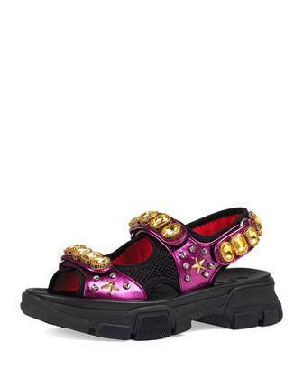 Metallic+and+Mesh+Sandals+w