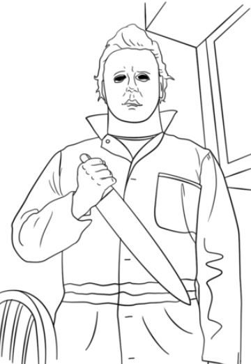 Michael Myers Coloring Page Michael Myers Drawing Scary Drawings Horror Artwork
