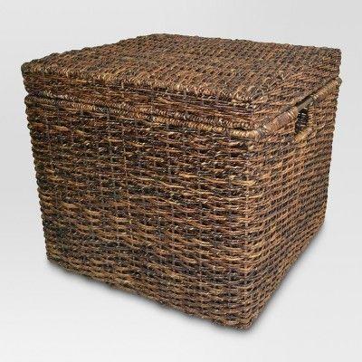 Wicker Lidded Cube Storage Basket Dark Global Brown Threshold Target Wicker Baskets Storage Cube Storage Baskets Storage Baskets