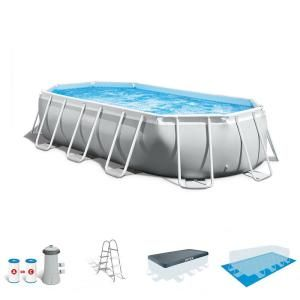 Intex 16 Ft X 8 Ft X 42 In D Rectangular Metal Frame Above Ground Pool 26791eh The Home Depot Rectangle Above Ground Pool Above Ground Swimming Pools Pool Pump