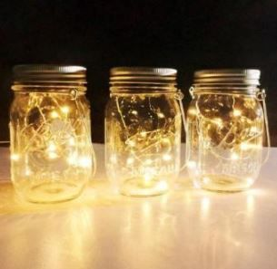 Set Of 4 Solar Fairy Lights In Mason Jars 20 Led Lights In Each Jar Waterproof Hangars Incl Floating Candles Mason Jars Mason Jar Lighting Jar Lights