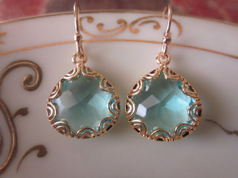 Gold Aquamarine Earrings  Pear Shape with Gold Design  by laalee, $25.00