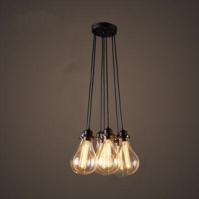 Industrial Cluster Multi Light Pendant In Exposed Edison Bulb Style 7 Lights Multi Light Pendant Edison Light Bulbs Ceiling Lights