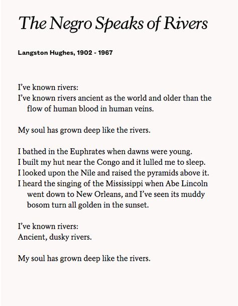 an analysis of the poems by langston hughes In the poem, the speaker states that he is also an american, but that the country is ashamed of him during the period in which it was written, african-americans were treated as second-class citizens and were subjected to jim similar articles what were langston hughes' major accomplishments.