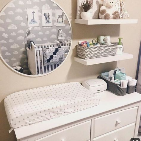 Neutral Baby Nursery - Dresser with Changing TableYou can find Nursery organization and more on our website.Neutral Baby Nursery - Dresser with Changing Table Baby Nursery Diy, Baby Nursery Neutral, Baby Boy Rooms, Baby Room Decor, Baby Nursery Closet, Neutral Nurseries, Nursery Room, Nursery Mirror, Baby Bedroom