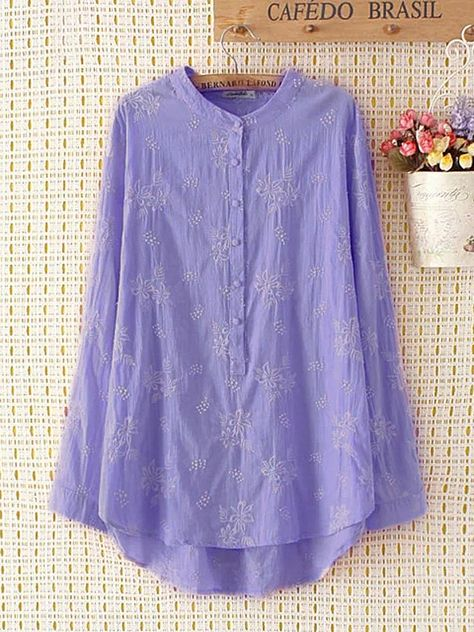 O-NEWE Casual Flower Embroidery Shirts for Women can cover your body well, make you more sexy, Newchic offer cheap plus size fashion tops for women Mobile.