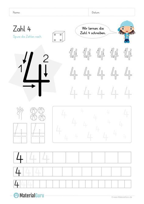 Kostenlose Arbeitsblatter Und Ubungen Zur Zahl 4 Fur Den Mathe Unterricht An Der Grundschule Zum Mathematikunterricht Schreiben Lernen Zahlen Lernen Vorschule