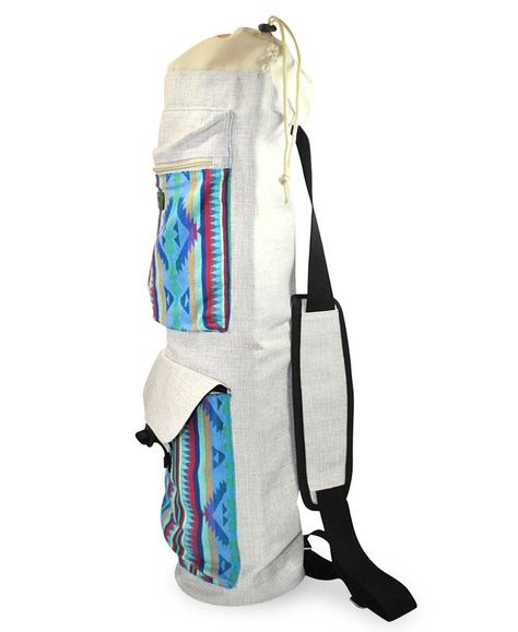 ae372577cf LIGHTWEIGHT DURABLE YOGA MAT BAG - Made from high quality durable canvas  with blue tribal Aztec bohemian woven pattern on front panel