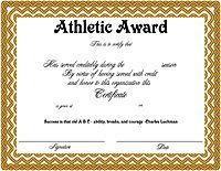 athletic award certificates