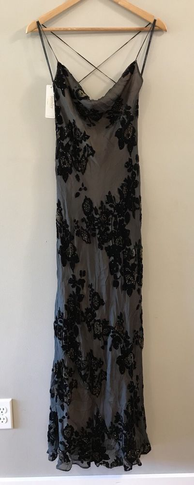 Laundry Shelli Segal Black Brown Silk Beaded Strappy Evening Gown