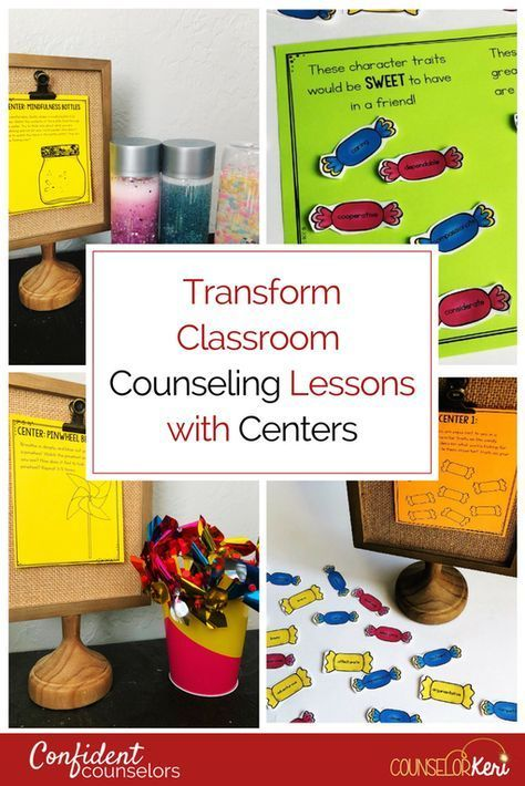 Give your large whole group classroom guidance lessons a small group counseling feel by using school counseling centers in your lessons! Use a quick mini lesson before breaking into small groups for center exploration.