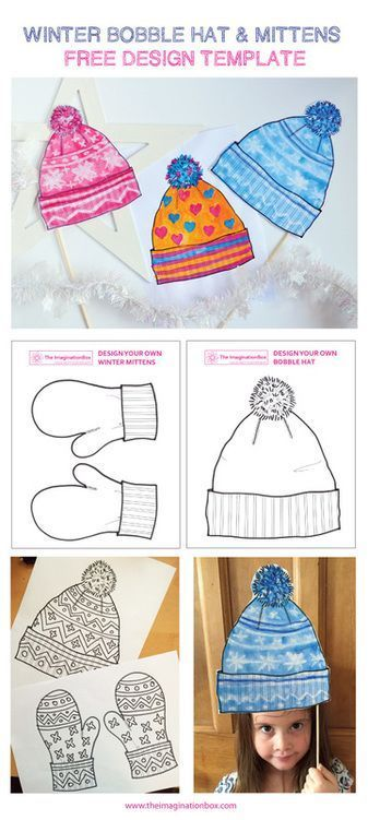 Design A Winter Bobble Hat And Mittens Free Template Free