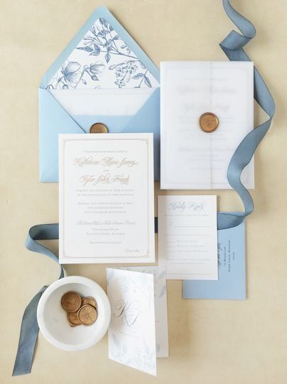 Classic Wedding Invitations - Light Blue And White Wedding