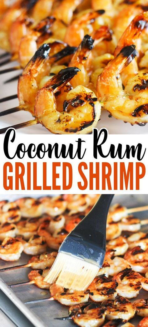 This Coconut-Rum Grilled Shrimp recipe is an easy dinner idea for backyard grilling! You'll only needs 5 ingredients! This Coconut-Rum Grilled Shrimp recipe is an easy dinner idea for summer grilling and you'll only needs 5 ingredients! Fish Recipes, Seafood Recipes, Cooking Recipes, Healthy Shrimp Recipes, Halibut Recipes, Water Recipes, Healthy Foods, Vegetarian Recipes, Summer Grilling Recipes