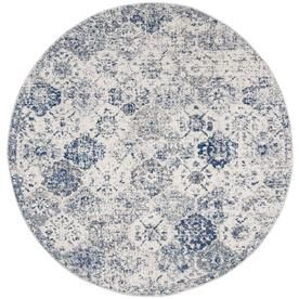 Safavieh Madison Lyton 6 Ft 7 In X 6 Ft 7 In Round White Royal Blue Mad611c 7r Vintage Area Rugs Chic Rug Blue Area Rugs