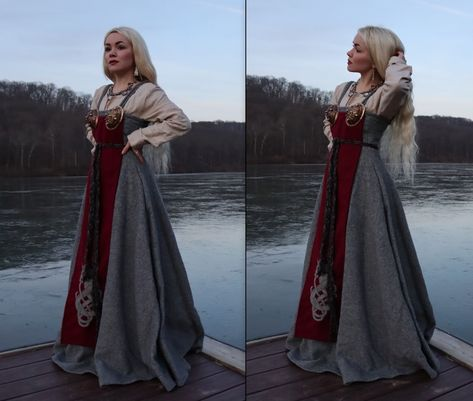 A handmade apron dress set. Everything included in this listing are: The beige under tunic (made out of linen), the grey apron dress (made out of. Viking Garb, Viking Dress, Medieval Dress, Viking Warrior, Viking Clothing, Historical Clothing, Historical Photos, Costume Roi, Apron Dress