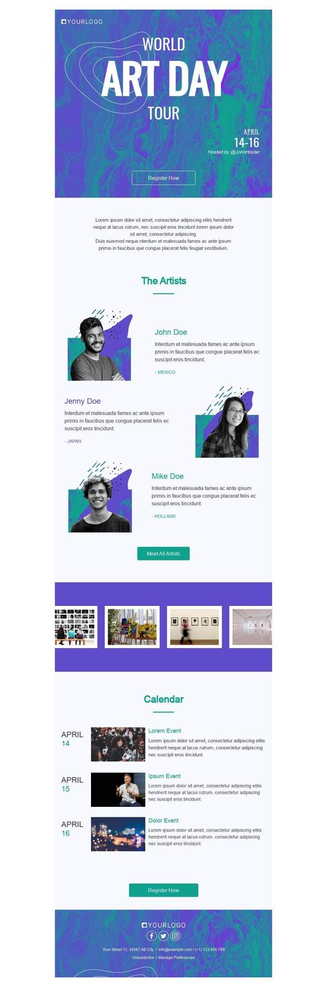 World Art Day Tour - Email Template