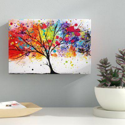 Rainbow Tree Ii Painting Print On Canvas Med Billeder Malerier Maling Pa Laerred Kreativitet