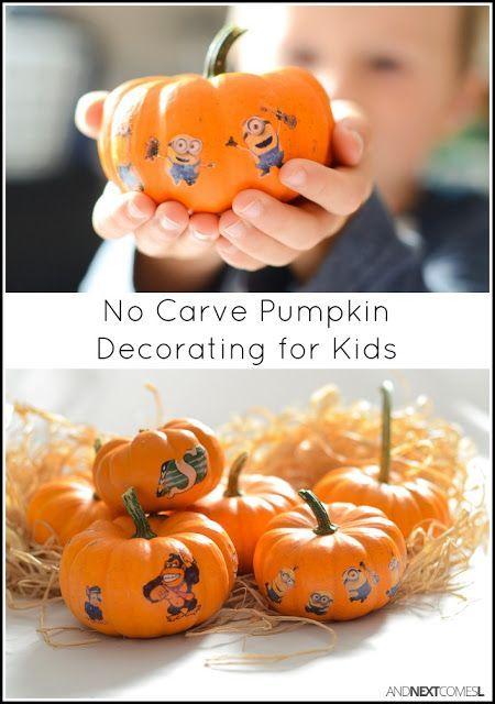 No Carve Pumpkin Idea For Kids Decorate Mini Pumpkins With Temporary Tattoos Halloween Activities For Kids Pumpkin Carving No Carve Pumpkin Decorating