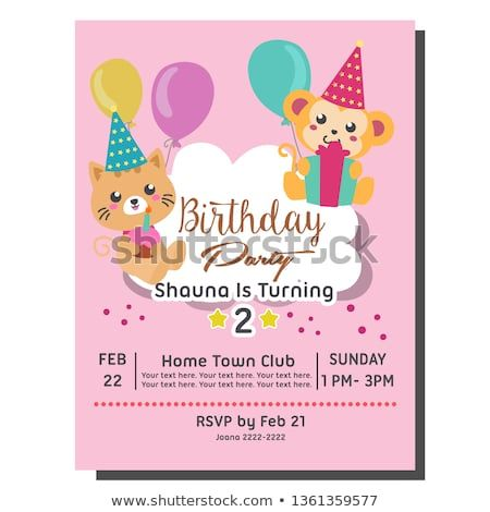 2nd Birthday Party Invitation Card Template With Cute Cat Monkey Birthday Invitation Invitation Card Birthday Birthday Party Invitations 2nd Birthday Parties