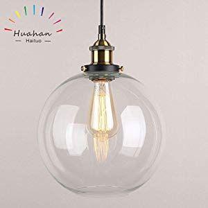Huahan Haituo Glas Pendelleuchte Vintage Industrial Metall Finish Klarglas Ball Runde Schatten Loft Luces De Techo Accesorios De Iluminacion Lamparas De Techo