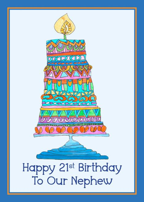 Happy 21st Birthday To Our Nephew Party Cake Card Ad Sponsored