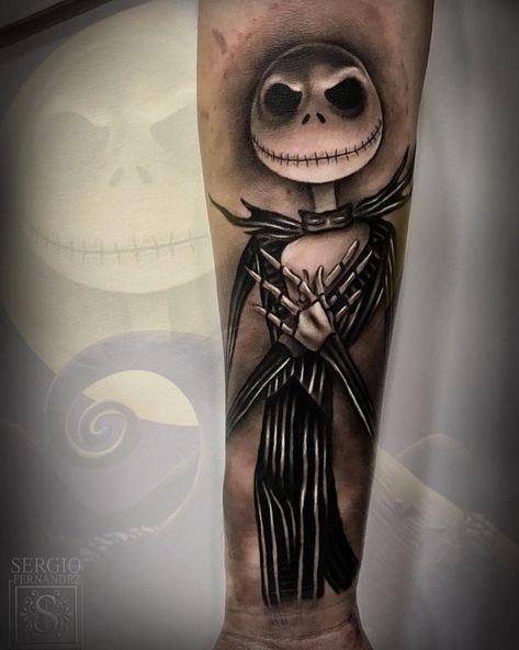 Wow! Check out this Jack Skellington piece by @sergiofernandeztattoo #inked #inkedmag #freshlyinked #inkedshop #inkedgirls #tattoo #ink…