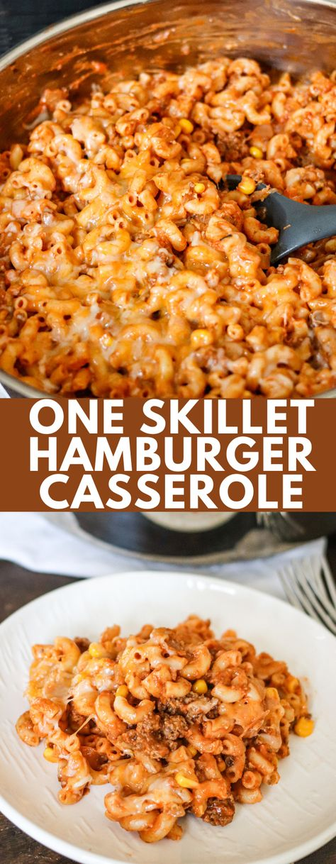 One Skillet Hamburger Casserole is a hearty and quick meal that the whole family will love! Best of all, it's ready in less than 30 minutes!