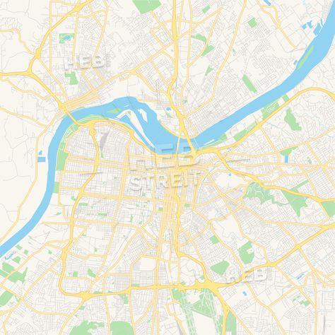 Empty vector map of Louisville, Kentucky, USA | Streit