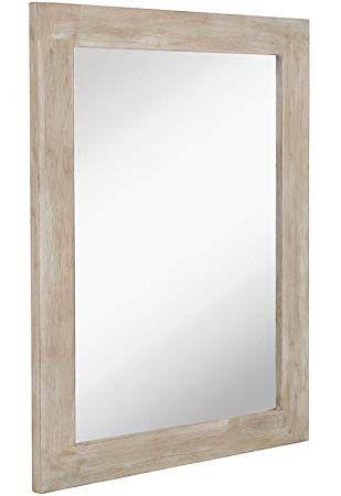 Hamilton Hills White Washed Wood Framed, 30 X 40 Framed Bathroom Mirror