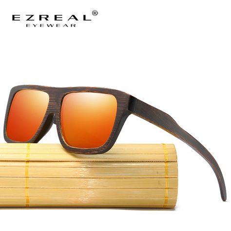 EZREAL Polarizada Óculos De Sol De Madeira Moldura De Madeira Em Camadas  Estilo Quadrado para As Mulheres Óculos De Sol Dos Homens de Bambu Em Caixa  De ... e5b0ac8a4d