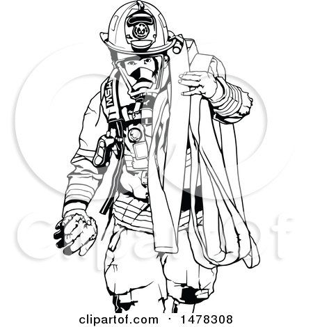 Clipart Of A Black And White Fireman Carrying A Hose Royalty Free Vector Illustration By Dero Free Vector Illustration Firefighter Art Fireman