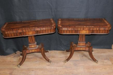 Pair Regency Rosewood Inlay Card Games Tables Hall Occasional Table