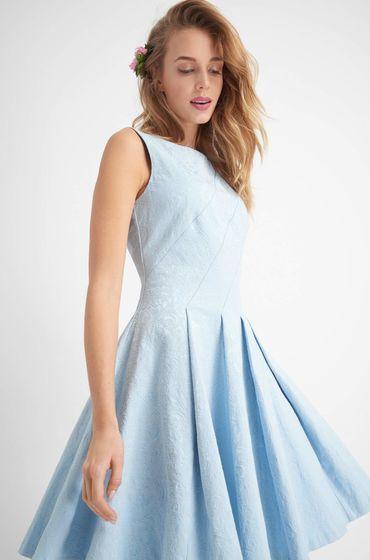 Glockenkleid aus Jacquard - Blau  Elegante abendkleider