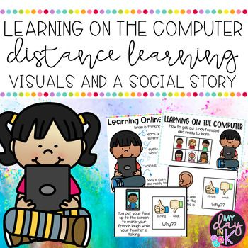 Learning on the Computer Visuals and Social Story Classroom Fun, Google Classroom, Teacher Page, Preschool Special Education, The Computer, Social Stories, School Psychology, Folder Games, File Folder