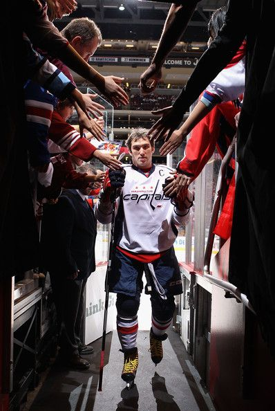 Alex Ovechkin #8 of the Washington Capitals walks off the ice