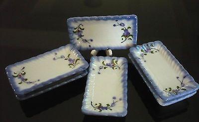 20 Mini Bowls Hand Painted Purple Orchid Dollhouse Miniatures Ceramic